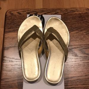 NineWest Glittery Gold Sandals with Box